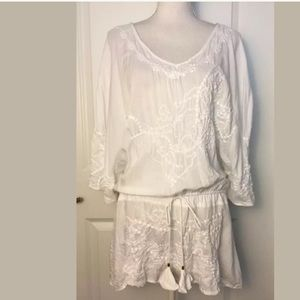 Vix White Embroidered Tunic Cover Up Dress Sz SP